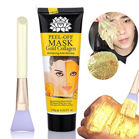24k Gold Mask Collagen Peel off Face Mask Bysiter Blackhead Remover Facial Mask mud Whitening Anti Wrinkle Skin Care Face Lifting Firming Moisturize with Mask Brush 4.22 oz (120g)