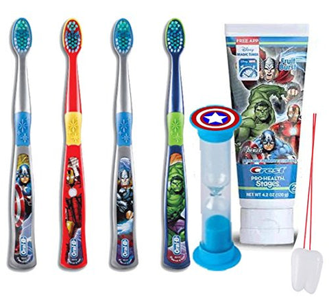 Ultimate Super Hero Inspired 6pc Bright Smile Oral Hygiene Pack! Avenger's Manual Toothbrush Set, Toothpaste & Brushing Timer! Plus Bonus  Remember To Brush  Visual Aid!