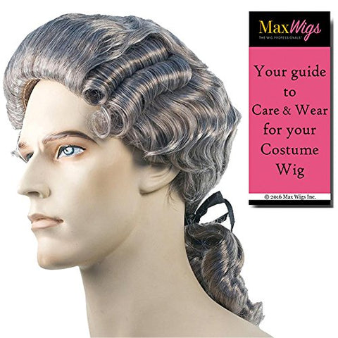 Bundle 2 items: Discount Colonial Man Washington Hamilton 18th Century Revolution Ponytail Patriot Men's Wig Lacey Costume Wigs Color Light Brown, MaxWigs Costume Wig Care Guide
