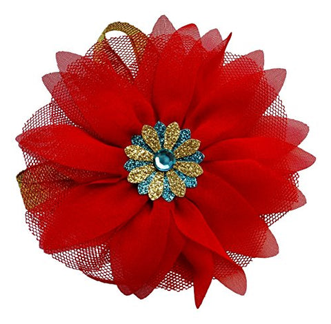 Latina Princess Tulle and Chiffon Red Flower Hair Clip