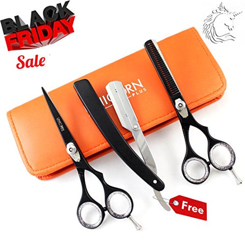 Limited Time OFFER ! 5 Inch Barber Salon Hair Cutting + Thinning Hair Scissors - Barber Razor Edge Series - J2 Black Finish Professional Hairdressing Salon & Students Scissors Set + FREE Razor