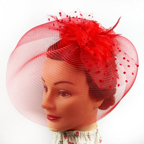 Fascinator - Red Flower Net Mesh Hair Clip