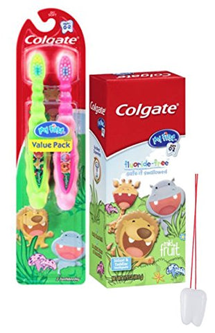 Wild Animal Safari 3pc Bright Smile Toddler Trainning Set! 2pk Soft Manual Toothbrush & Toddler Fluoride Free Toothpaste! Plus Bonus  Remember to Brush  Visual Aid!