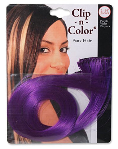 Mia Clip-n-Color-Synthetic/Faux Wig Hair Extensions On A Weft Clip-Instant Hair, Instant Length, Instant Volume! Two 14  Long Hair Extensions-Purple Color (2 pieces per package)