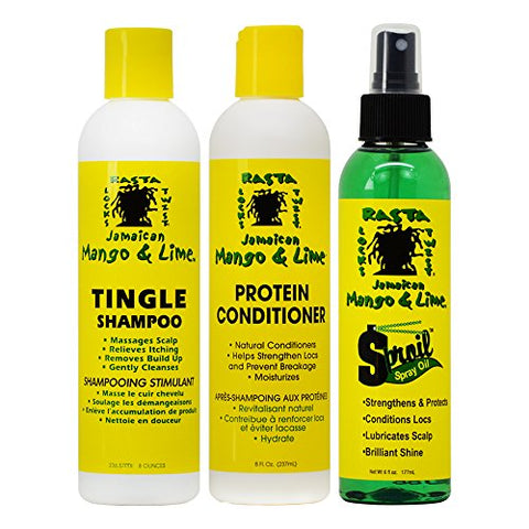 Jamaican Mango & Lime Tingle Shampoo & Protein Conditioner 8 oz + Sproil Oil 6 oz(Set)