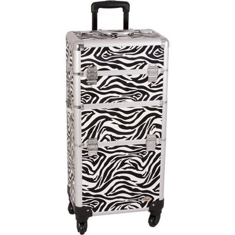 31 inch 360 Rotation Four Wheel 2-in-1 Zebra Texture Aluminum Professional Makeup Artist Rolling Train Case Cosmetic Organizer Styling Cart Trolley with Dividers