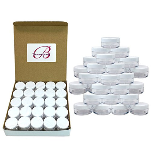 (1000 Pcs) Beauticom 5G/5ML High Quality Round Clear Jars with White Lids for Scrubs, Oils, Salves, Creams, Lotions - BPA Free