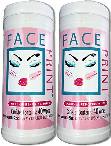 Face Print (New!) Premium Make-Up Removing and Cleansing Wipes 80ct (2 X 40ct canisters per order) **On Sale**