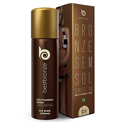 #1 Brazilian BEST SELLER Self Tanner, Best Bronze SELF TAN Spray, 3.5 fl.oz, body and face, perfect tan, golden brown natural looking color for all skin types, long lasting, flawless, doesnt stain