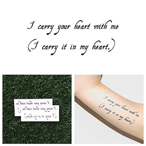 Tattify Carry Your Heart Quote Temporary Tattoo - Carryout (Set of 2) - Other Styles Available and Fashionable Temporary Tattoos