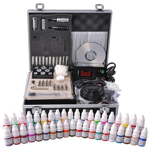 Tattoo Kit 2 Guns LCD Power Supply 54 Color Inks w/ Case
