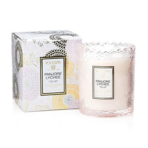 Voluspa Panjore Lychee Boxed Scalloped Edge Glass Candle Limited 6.2 oz