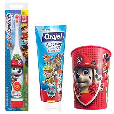 Paw Patrol Marshall Toothbrush & Toothpaste Bundle; 3 Items: Spinbrush Toothbrush, Orajel Bubble Berry Toothpaste, Marshall Kids Rinse Cup