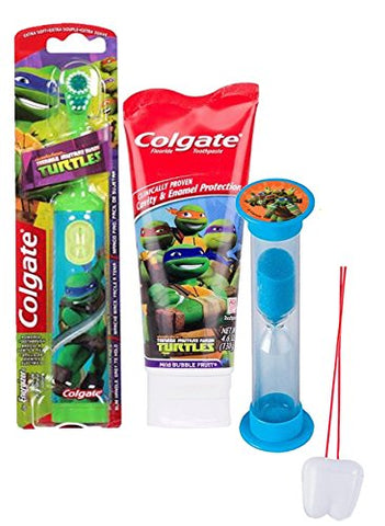 Teenage Mutant Ninja Turtles 3pc Bright Smile Oral Hygiene Set! Turbo Powered Spin Toothbrush, Toothpaste & Brushing Timer! Plus  Remember To Brush  Visual Aid!
