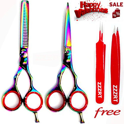 New J2 Japanese Steel Razor Edge Titanium Hairdressing Scissors and Hair Thinning Scissors/shear Set 5.5 Inch (14cm)+ Free Red Tweezer Set