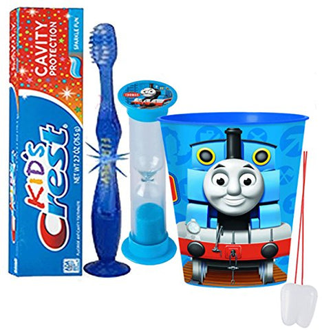 Thomas The Train  Inspired 4pc Bright Smile Oral Hygiene Set! Flashing Lights Toothbrush, Toothpaste, Brushing Timer & Mouthwash Rinse Cup! Plus Bonus  Remember To Brush  Visual Aid!