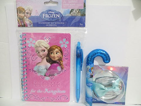 Disney Frozen Press on Nails, Candy Cane Shaped Lip Balm/Gloss, Hair Bow, Notebook 4pc Gift Set Valentines Day