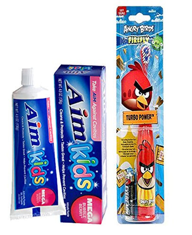 Ready...Set...Brush! Firefly Angry Birds Turbo Power Soft Toothbrush! Plus Bonus Aim Kids Mega Bubble Berry Gel Toothpaste, 4.8 oz.