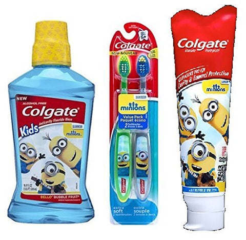 Despicable Me Minion Kids Extra Soft Bristle Manual Toothbrushes, Bello Bubble Fruit Anti-cavity Fluoride Mouthwash Rinse,Mild Bubble Fruit Enamel Protection Toothpaste Value Combo Bundle