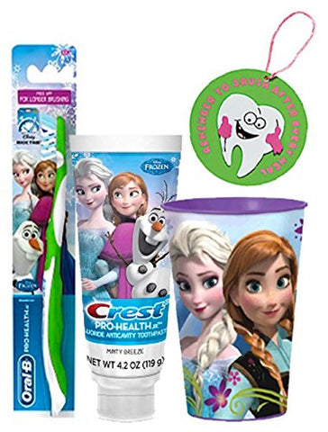 Frozen  ANNA  Inspired 3pc Bright Smile Oral Hygiene Set! (1) Anna Soft Manual Toothbrush, Minty Breeze Toothpaste & Mouthwash Rinse Cup! Plus Bonus  Remember to Brush  Visual Aid