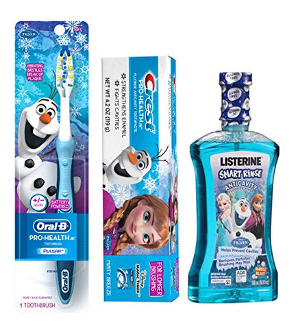 Disney Frozen Pro Health Jr All Inclusive 3pc. Bright Smile Collection! Includes Battery Powered Toothbrush & Disney Frozen Crest Minty Breeze Toothpaste! Plus Bonus Frozen LISTERINE SMART RINSE Anticavity Fluoride Rinse