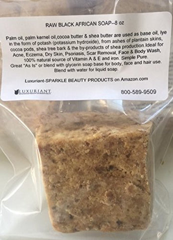 African Black Soap-Raw 100% Natural-from Ghana-8 ounces