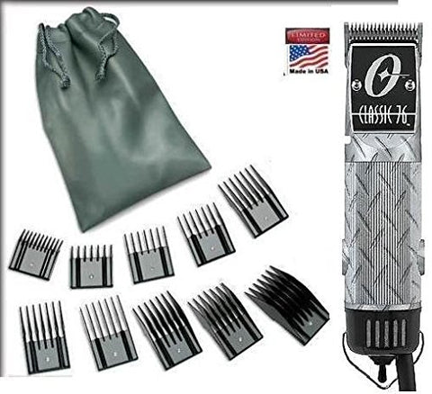 Oster Classic 76 Silver Diamond Plate design Limited Edition Hair Clipper + 10 Piece Combs