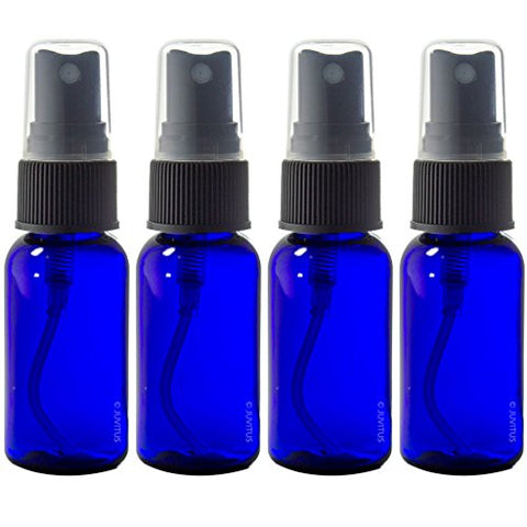 Cobalt Blue 1 oz Boston Round PET (BPA Free) with Black Fine Mist Sprayer  + Labels
