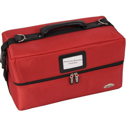 16 inch Red Soft Heavy Duty Nylon Makeup Bag Cosmetic Organizer Train Case w/Detachable Shoulder Strap