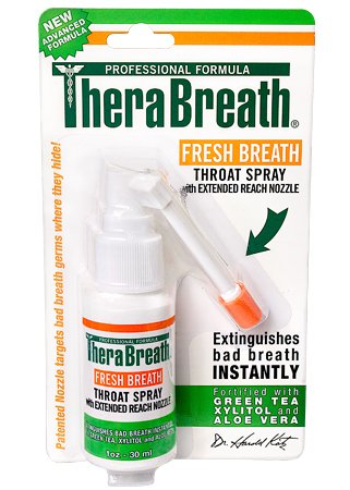 TheraBreath Fresh Breath Throat Spray with Green Tea Xylitol & Aloe Vera 1 fl oz (30 ml)