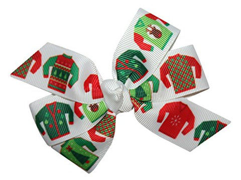WD2U Girls Ugly Christmas Sweater Party GrosGrain Hair Bow French Clip