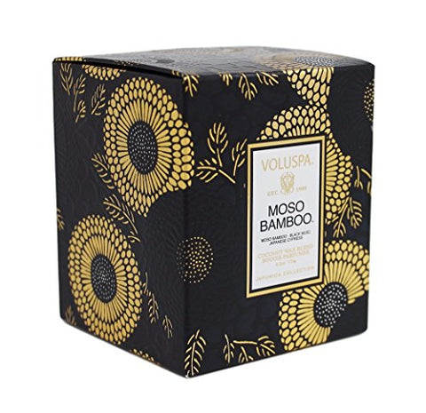Voluspa Moso Bamboo Scalloped Edge Glass Limited Candle 6.2 oz