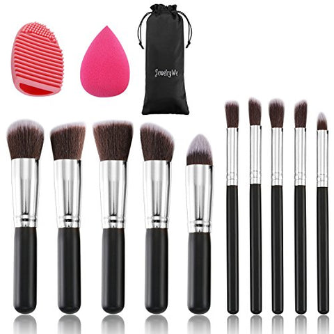 JewelryWe Makeup Brushes Set Premium Makeup Brush Kit Synthetic Kabuki with Blender Sponge and Brush Egg (10+2pcs,Black/Silver)
