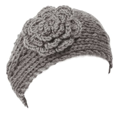 Wrapables Hand Knit Winter Warmth Floral Headband, Grey