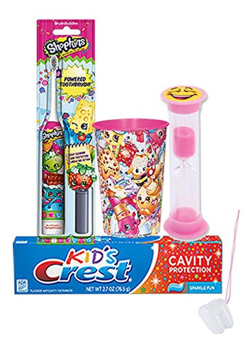 Shopkin 4pc. Bright Smile Oral Hygiene Set! Shopkins Turbo Powered Toothbrush, Crest Kids Sparkling Toothpaste, 2 Minute Timer & & Mouthwash Rinse Cup! Plus Bonus  Remember To Brush  Visual Aid!