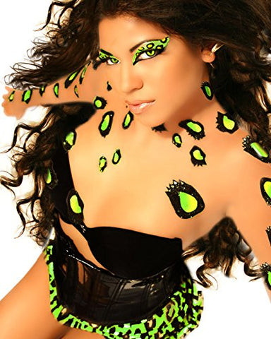Purr Temporary BODY ART Dancer Neon Green Leopard Print Cat Costume Xotic Eyes