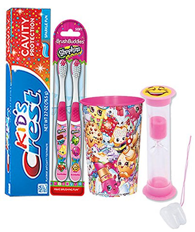 Shopkins 5pc. Bright Smile Oral Hygiene Set! Shopkins Manual Toothbrush, Crest Kids Sparkling Toothpaste, 2 Minute Timer & Mouthwash Rinse Cup! Plus Bonus  Remember To Brush  Visual Aid!