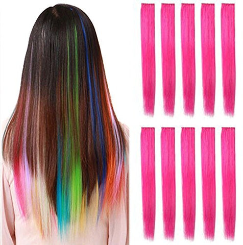 OPT. 10 Pieces of 22 Inches Straight Colored Party Highlight Clip on in Hair Extensions Multiple Colors. Free Shipping From New York. (Hot Pink)