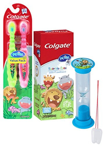 Wild Animal Safari 4pc Bright Smile Toddler Trainning Set! 2pk Soft Manual Toothbrush, Fluoride Free Toothpaste & Brushing Timer! Plus Bonus  Remember to Brush  Visual Aid!
