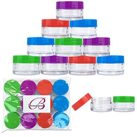 Beauticom 12 Pieces 20G/20ML Round Clear Jars with Mixed Color Lids (Red, Green, Purple, Blue) for Lotion, Creams, Toners, Lip Balms, Cosmetic Makeup Samples - BPA Free