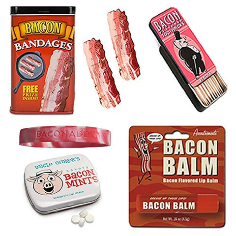 Bacon Bath & Grooming Kit Gift Pack (4pc Set + Wristband) - Bacon Bandages, Toothpicks, Breath Mints & Lip Balm + Silicone Wristband