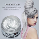 Temporary Silver Grey Hair Color Wax, Y.F.M Men Temporary Disposable Hair Mud Cream, Fresh and Natural Hairstyle Wax, Hairstyle Pomades for Party, Cosplay, Nightclub, Masquerade, Halloween 4.23.oz