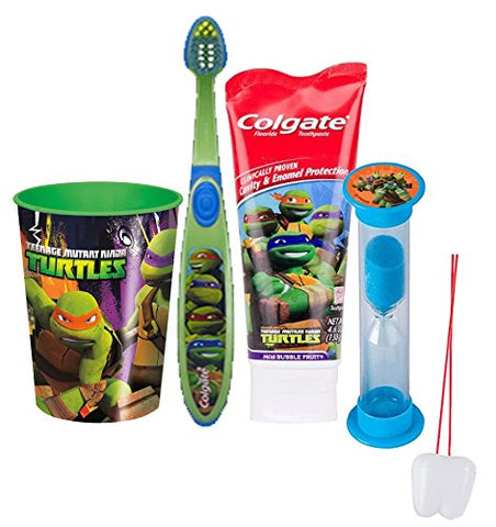 Teenage Mutant Ninja Turtles 4pc Bright Smile Oral Hygiene Set! Toothbrush, Toothpaste, Brushing Timer & Mouthwash Rinse Cup! Plus  Remember To Brush  Visual Aid!