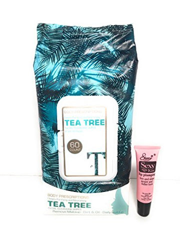Body Prescription Deeply Purifying and Nourishing Tea Tree Facial Cleansing Wipes Pore Refining 60 Count  Free Starry Lipgloss 10 Ml