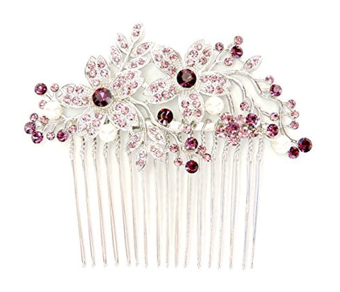 Faship Hair Comb Gorgeous Amethyst Purple Crystal Pearl Floral