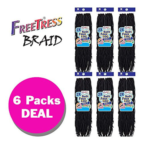 2X SOFT WAVY FAUX LOC 20  (6-Pack, 4) - Freetress Synthetic Crochet Braid Dread Locks