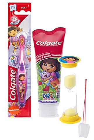 Dora the Explorer Inspired 3pc. Bright Smile Oral Hygiene Set! Manual Toothbrush, Toothpaste & Brushing Timer! Plus Bonus  Remember to Brush  Visual Aid!