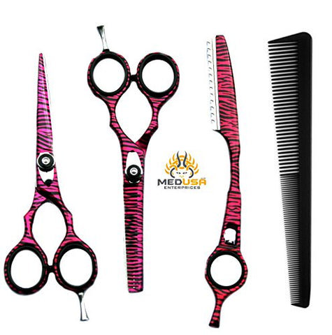 Professional Pink Zebra Hairdressing Barber Salon Scissors,Thinning Scissors,Thinner Razor set with comb 5.5