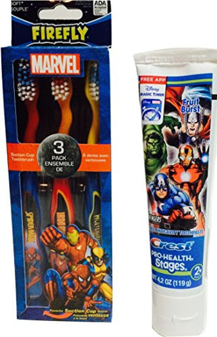 Easter Basket, Non-Candy! Cool Marvel Avengers Tooth Care: Marvel Avengers Themed Toothbrushes and One 4.2oz Tube of Marvel Avengers Themed Toothpaste; 2-pc