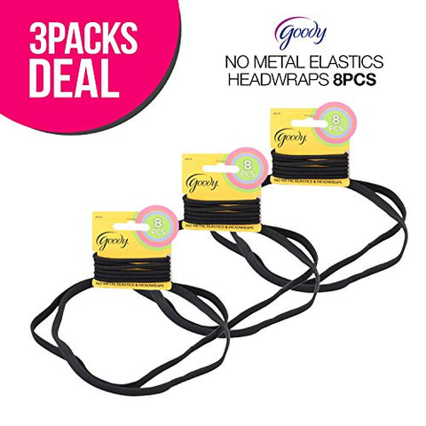 ! Goody No Metal Elastics Ponytailers & Headwraps 8Pcs